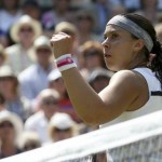 Marion Bartoli of France reacts to breakings serve in the second set during her women's singles final tennis match against Sabine Lisicki of Germany at the Wimbledon Tennis Championships, in London