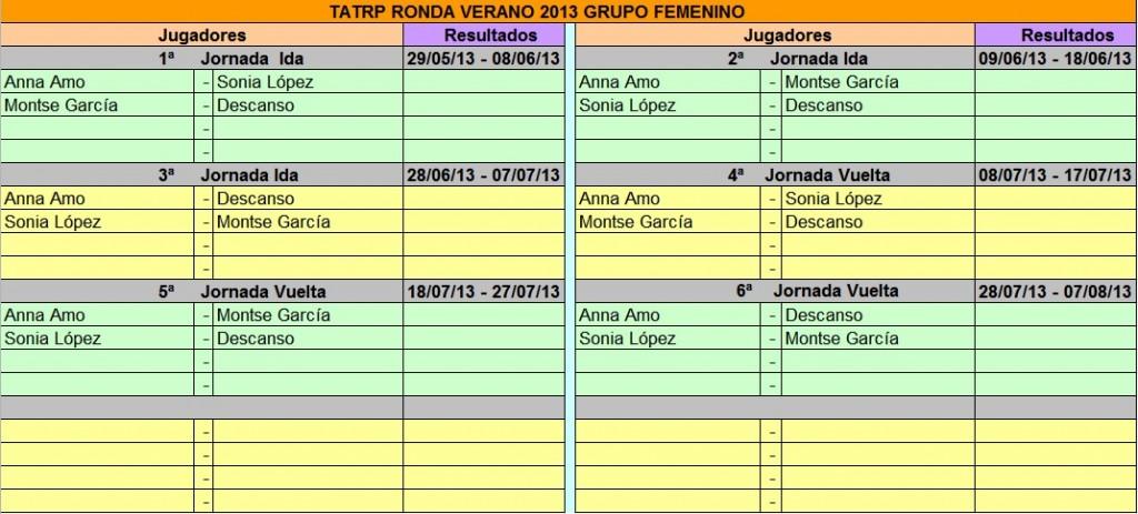 ronda verano femenino calendario